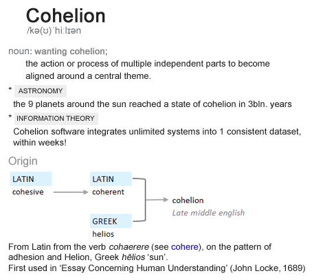 Origin of Cohelion: The action of process of multiple independent parts to become aligned around a central theme. Used in Astronomy and in Information Theory